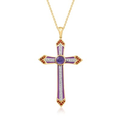 1.30 ct. t.w. Multi-Gemstone Cross Pendant Necklace with Purple Enamel in 18kt Gold Over Sterling