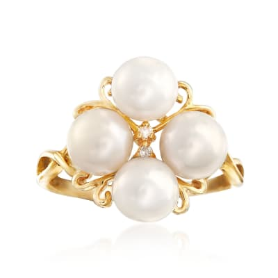 6-6.5mm Cultured Pearl Cluster Ring with Diamond Accents in 14kt Gold