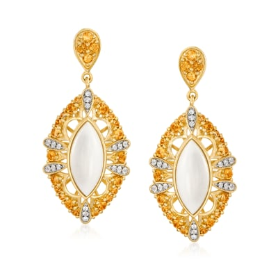White Agate, .90 ct. t.w. Citrine and .10 ct. t.w. White Topaz Drop Earrings in 18kt Gold Over Sterling
