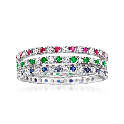 .51 ct. t.w. Multi-Gemstone and .39 ct. t.w. Diamond Jewelry Set: Three Gemstone Eternity Bands in 14kt White Gold