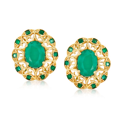2.50 ct. t.w. Emerald Openwork Earrings in 14kt Yellow Gold
