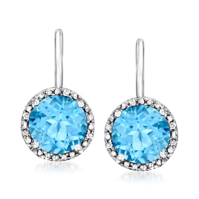 3.00 ct. t.w. Swiss Blue Topaz Drop Earrings with Diamond Accents in Sterling Silver