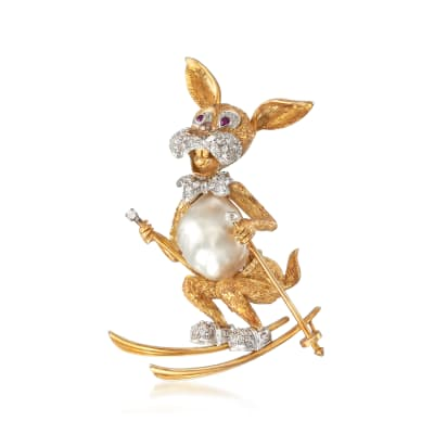 C. 1970 Vintage South Sea Pearl and .65 ct. t.w. Diamond Ski Bunny Pin in 18kt Yellow Gold