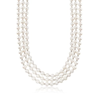 7-7.5mm Cultured Pearl and Sterling Silver Bead Endless Necklace