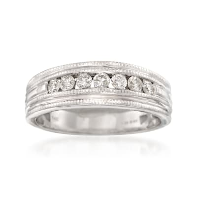 Men's .50 ct. t.w. Diamond Milgrain Wedding Ring in 14kt White Gold
