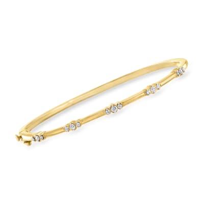 .33 ct. t.w. Diamond Trio Station Bangle Bracelet in 18kt Gold Over Sterling