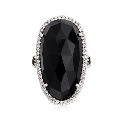 Black Onyx, .40 ct. t.w. Black Spinel and .40 ct. t.w. White Topaz Cocktail Ring in Sterling Silver