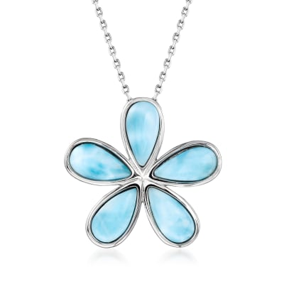 Larimar Daisy Flower Pendant Necklace in Sterling Silver