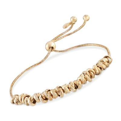 Italian 18kt Yellow Gold Over Sterling Silver Crisscrossing Bead Bolo Bracelet