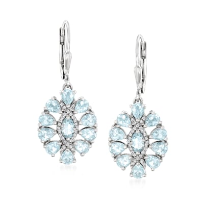 2.50 ct. t.w. Aquamarine and .10 ct. t.w. White Topaz Drop Earrings in Sterling Silver