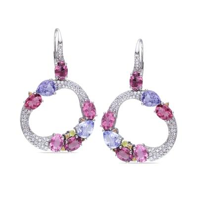 12.78 ct. t.w. Multi-Gemstone Drop Earrings with 1.45 ct. t.w. Diamonds in 14kt White Gold