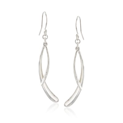 "Zina Sterling Silver ""Contemporary"" Double Drip Drop Earrings"