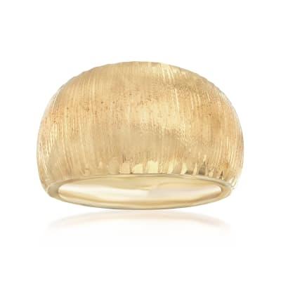 Italian 14kt Yellow Gold Diamond-Cut Edge Ring
