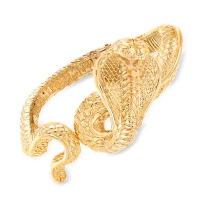 Italian 14kt Yellow Gold Cobra Hinged Wide Bangle Bracelet