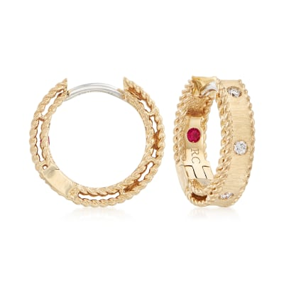 "Roberto Coin ""Symphony Princess Diamond-Accented Hoop Earrings in 18kt Yellow Gold"