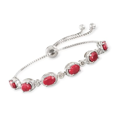 6.50 ct. t.w. Ruby Bolo Bracelet with Diamond Accents in Sterling Silver