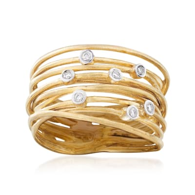 14kt Yellow Gold Multi-Row Ring with Diamond Accents