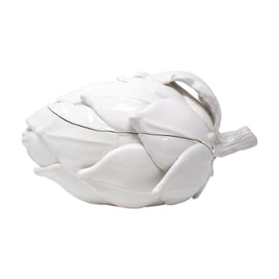 "Vietri ""Artichoke"" White Figural Tureen from Italy"