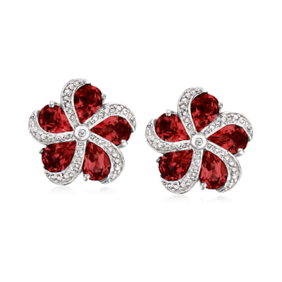 7.00 ct. t.w. Garnet Flower Earrings in Sterling Silver