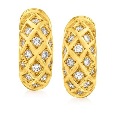 C. 1990 Vintage Cartier .70 ct. t.w. Diamond Earrings in 18kt Yellow Gold