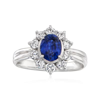 C. 1980 Vintage 1.07 Carat Sapphire and .70 ct. t.w. Diamond Ring in Platinum