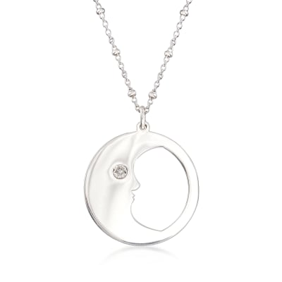 Diamond-Accented Man in the Moon Pendant Necklace in Sterling Silver