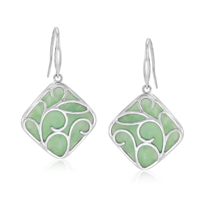 Jade Drop Earrings in Sterling Silver