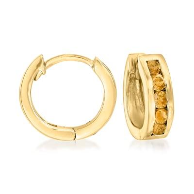 .60 ct. t.w. Citrine Huggie Hoop Earrings in 18kt Gold Over Sterling