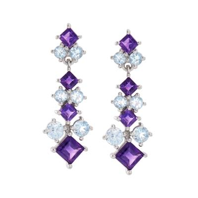 2.40 ct. t.w. Amethyst and 2.10 ct. t.w. Blue Topaz Drop Earrings in Sterling Silver