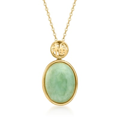 "Jade ""Good Fortune"" Pendant Necklace in 18kt Gold Over Sterling"