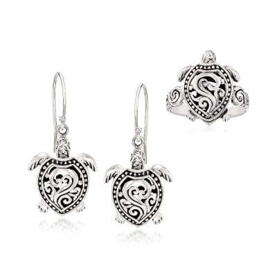 Sterling Silver Bali-Style Jewelry Set: Turtle Drop Earrings and Ring