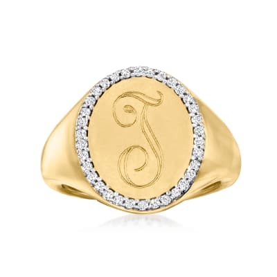 Personalized .13 ct. t.w. Diamond Signet Pinky Ring in 14kt Yellow Gold