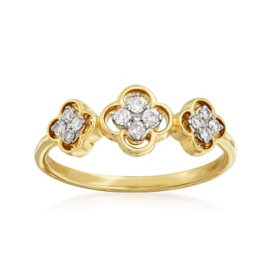 .17 ct. t.w. Diamond Clover Ring in 14kt Yellow Gold