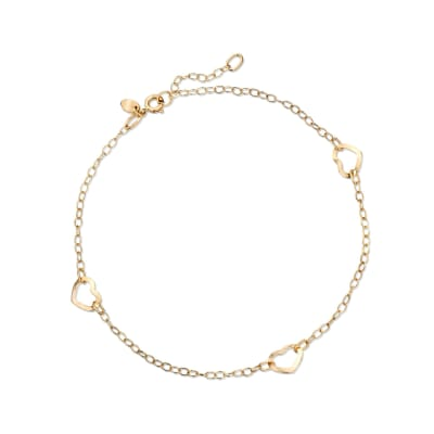 Italian 14kt Yellow Gold Open-Space Heart Station Anklet
