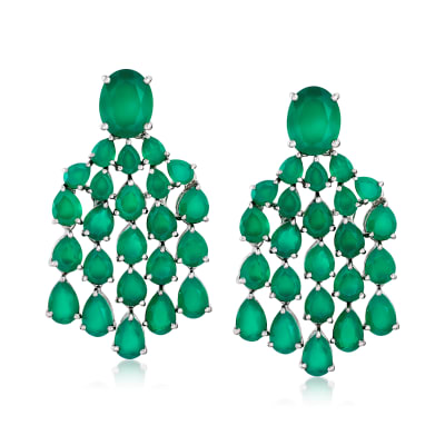 Green Chalcedony Chandelier Drop Earrings in Sterling Silver