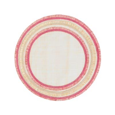 Joanna Buchanan Pink Ruffle-Edge Straw Placemat