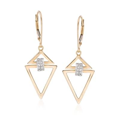 .10 ct. t.w. Diamond Open Triangle Drop Earrings in 14kt Two-Tone Gold