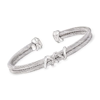 "Phillip Gavriel ""Italian Cable"" Cuff Bracelet with Diamond Accents in Sterling Silver"