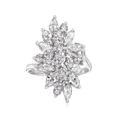 C. 1970 Vintage 2.25 ct. t.w. Diamond Cluster Ring in 14kt White Gold