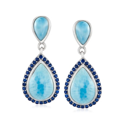 Larimar and .30 ct. t.w. Simulated Sapphire Drop Earrings in Sterling Silver