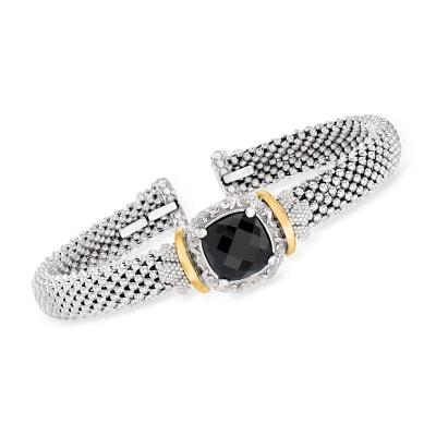 "Phillip Gavriel ""Popcorn"" Black Onyx Cuff Bracelet in Sterling Silver with 18kt Yellow Gold"