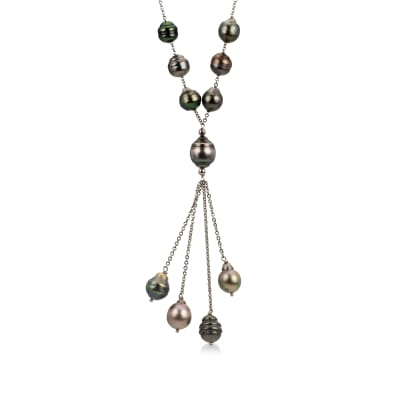 8-11mm Black Cultured Tahitian Pearl Tassel Necklace in Sterling Silver