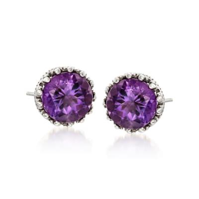 3.60 ct. t.w. Amethyst Crown-Style Stud Earrings in Sterling Silver