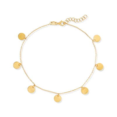 Italian 14kt Yellow Gold Disc Charm Anklet