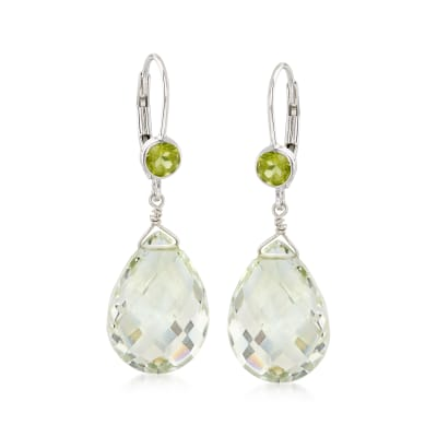 14.00 ct. t.w. Prasiolite and .80 ct. t.w. Peridot Drop Earrings in Sterling Silver