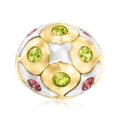 C. 2000 Vintage Bulgari 1.30 ct. t.w. Pink Rhodolite Garnet and 1.00 ct. t.w. Peridot Ring in 18kt Two-Tone Gold