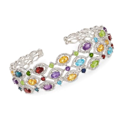 8.60 ct. t.w. Multi-Gemstone Cuff Bracelet in Sterling Silver