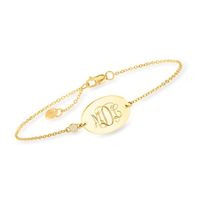 14kt Yellow Gold Personalized Oval Bracelet