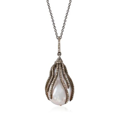 22.7x15mm Cultured Baroque Pearl and 1.20 ct. t.w. Brown Diamond Pendant Necklace in Sterling Silver