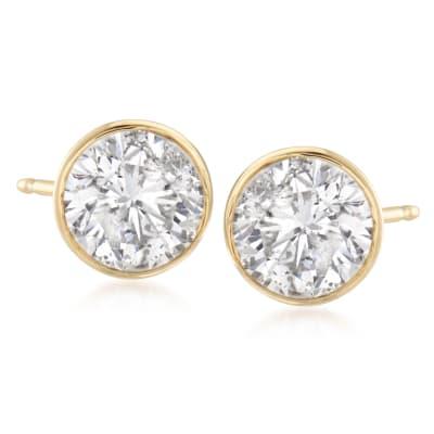 2.00 ct. t.w. Bezel-Set Diamond Stud Earrings in 14kt Yellow Gold